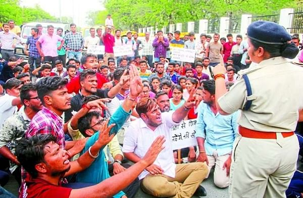 Shirtless rally: Students turn 'Salman' to protest joblessness