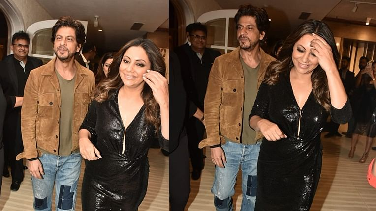 Doting husband Shah Rukh Khan comes to support Gauri at her event and she can't stop smiling; see pics