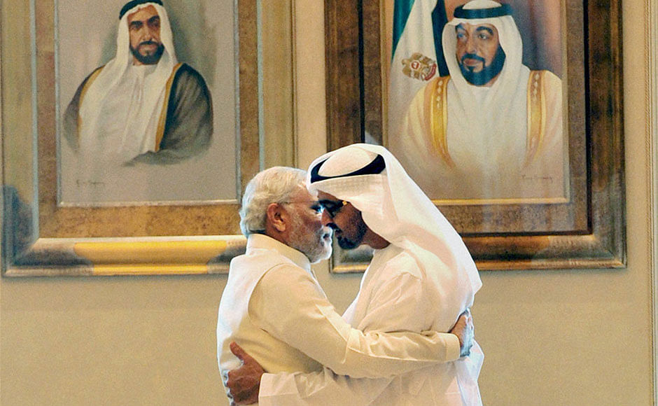 Prime Minister Narendra Modi with Sheikh Mohammed bin Zayed Al Nahyan in Abu Dhabi in 2015
