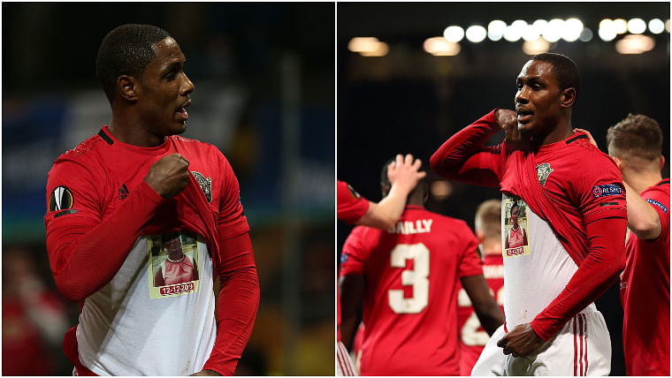 Watch: Odion Ighalo pays tribute to late sister after scoring first goal in Manchester United jersey