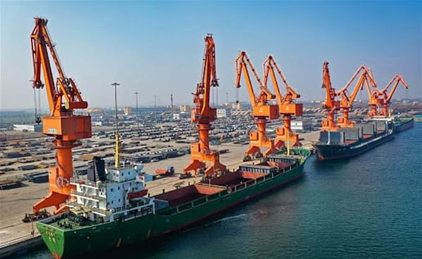 Cargo ships at a wharf of Wenfeng port in the China (Hebei) Pilot Free Trade Zone  Caofeidian area in north China's Hebei Province