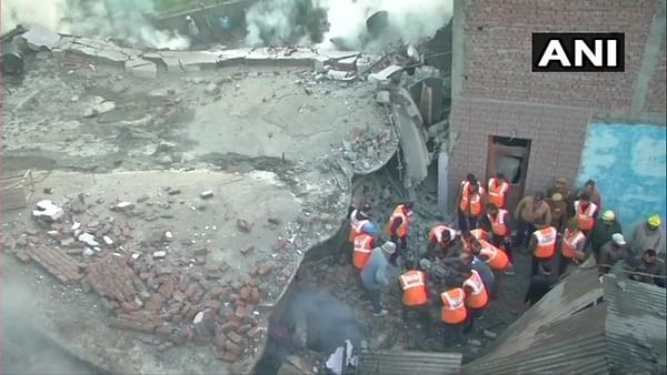 Three-storey building Talab Tillo area of Jammu collapses after fire breaks out