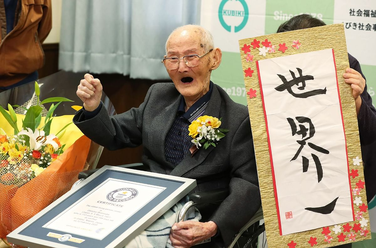 112-year-old Japanese with a sweet tooth is world's oldest living man