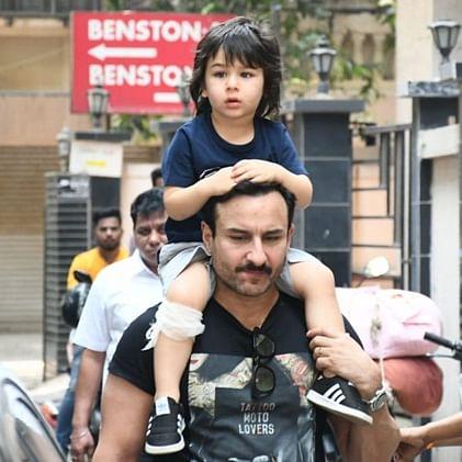 In Pics: Taimur Ali Khan bruises his knee, Saif takes him for a stroll