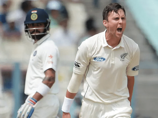 Trent Boult picks Virat Kohli's wicket in the three-match Test series during New Zealand's visit  to India in 2016.