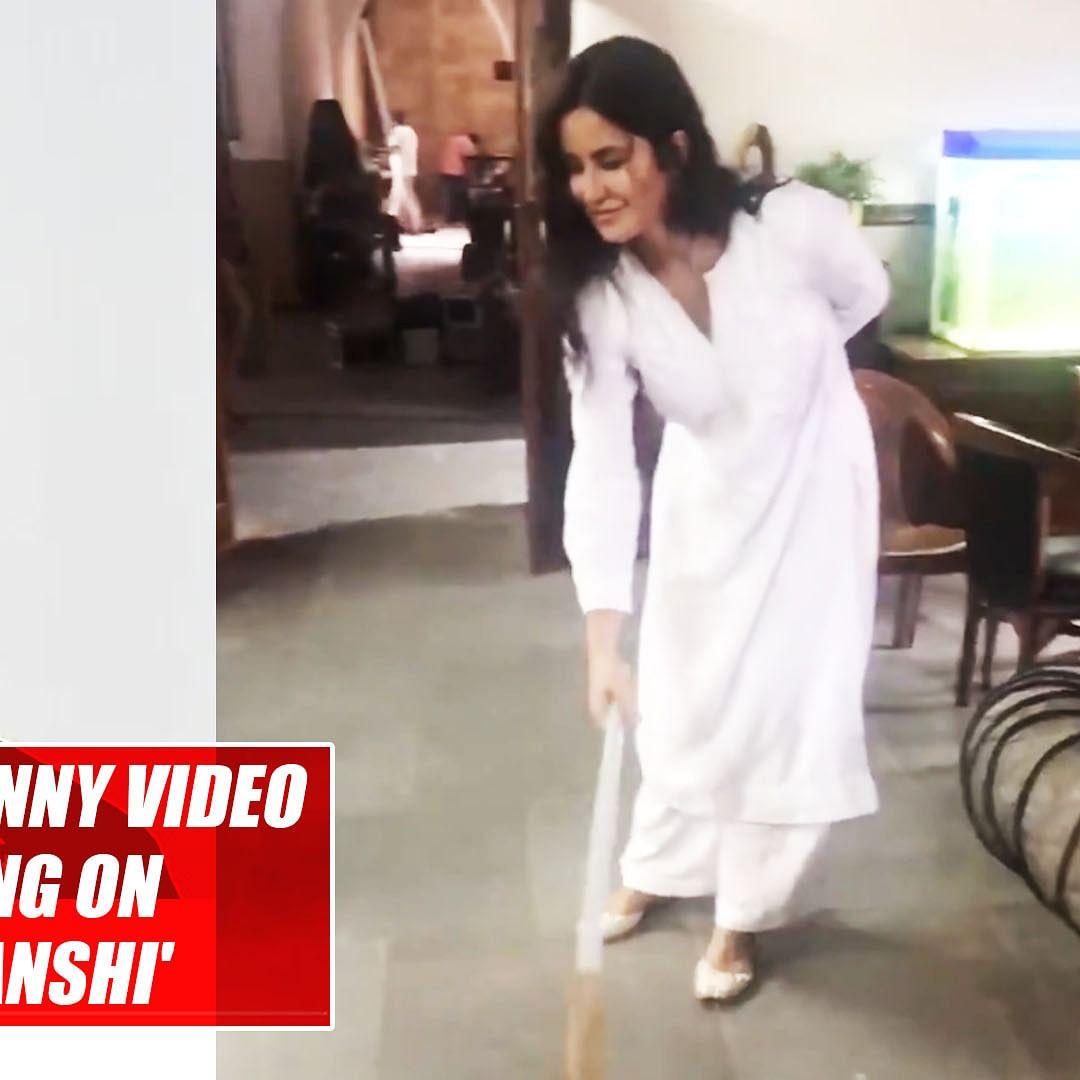 Akshay Kumar shares funny video of Katrina Kaif sweeping on the sets of 'Sooryavanshi'