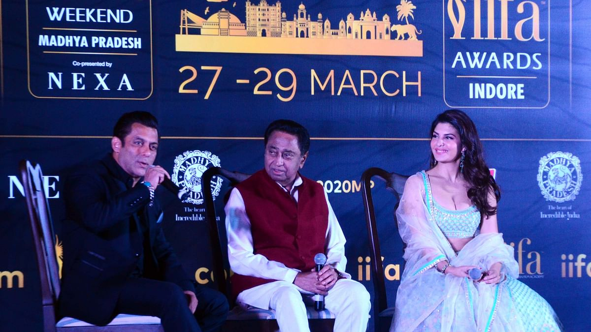 Chief Minister Kamal Nath with  actors Salman Khan and Jacqueline Fernandez interact with media at Minto Hall regarding IIFA award on Monday/ File Pic