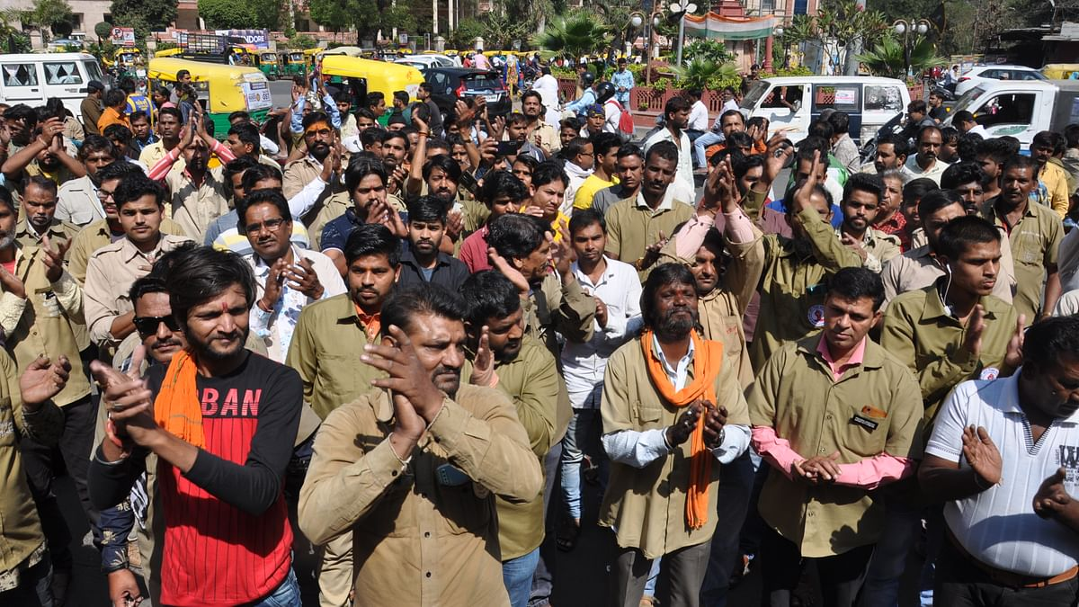 More than 200 auto-drivers gathered at collectorate square on Monday.