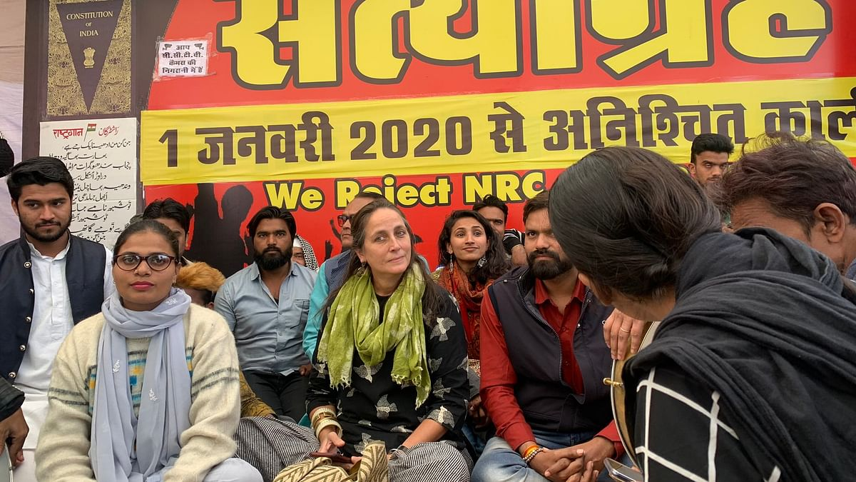 Shashi Kapoor's daughter & theatre artiste Sanjana Kapoor takes part in ongoing month-long Satyagraha against CAA at Iqbal Maidan in Bhopal. File Photo