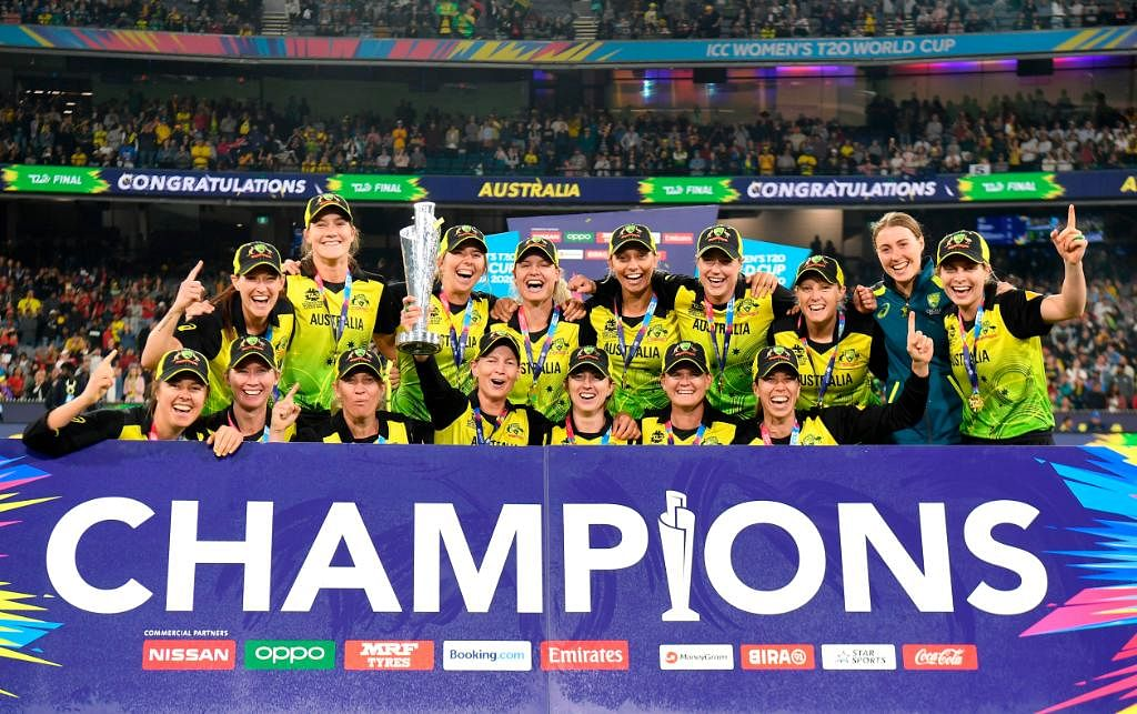 Australian Women's team lifting the T20 World Cup trophy