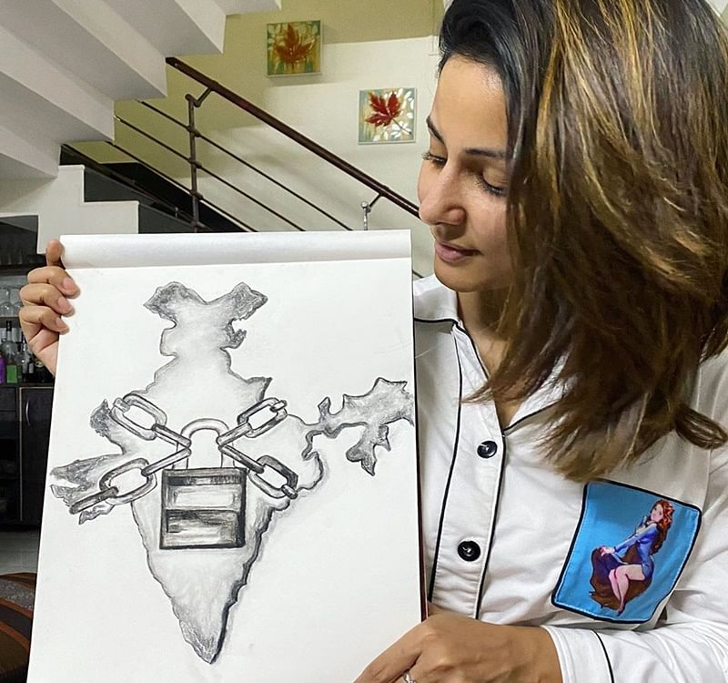 Hina Khan sketches India in 'lock and chain' amid coronavirus lockdown