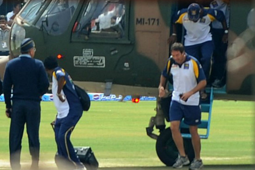 Sri Lanka players getting off from a helicopter in 2009 after terrorist attacks at Gaddafi Stadium.