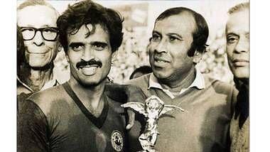 Shyamlal Banerjee (L) with PK Banerjee.