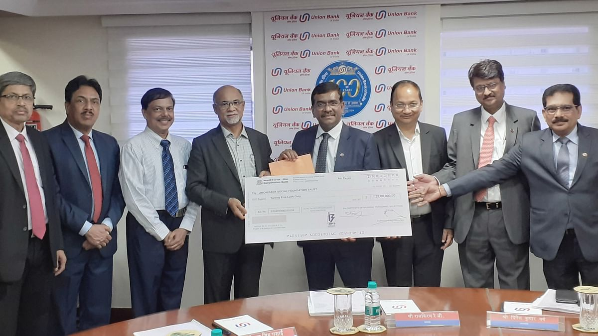 Rajkiran Rai G, Chairman, UBSFT receiving the Donation amount of Rs. 25.00 lakh from Hardeesh Kumar B, Chief Executive, IBPS. Also, present on the occasion are Gopal Singh Gusain, Dinesh Kumar Garg, Manas Ranjan Biswal,  Vice Chairmen, UBSFT, M. Venkatesh, Managing Trustee, Vivek Kamath, Chief Executive, UBSFT and B.Mahesh Kumar Singh , CFO, IBPS.