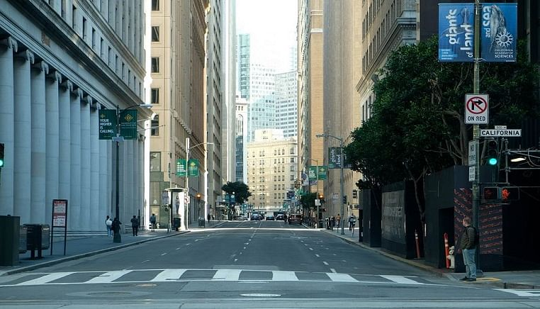 Photo taken on March 20, 2020 shows a street in San Francisco, California, the United States.