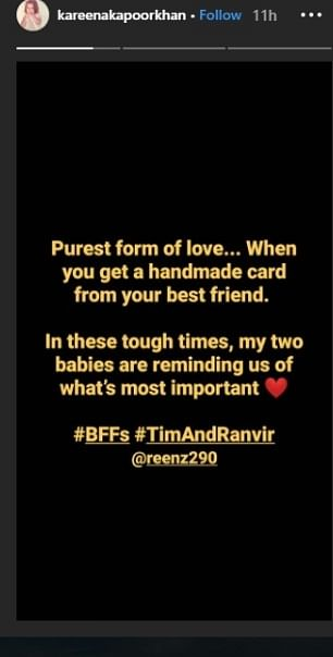 Taimur's BFF Ranvir sends handmade card, Kareena calls it 'purest form of love'