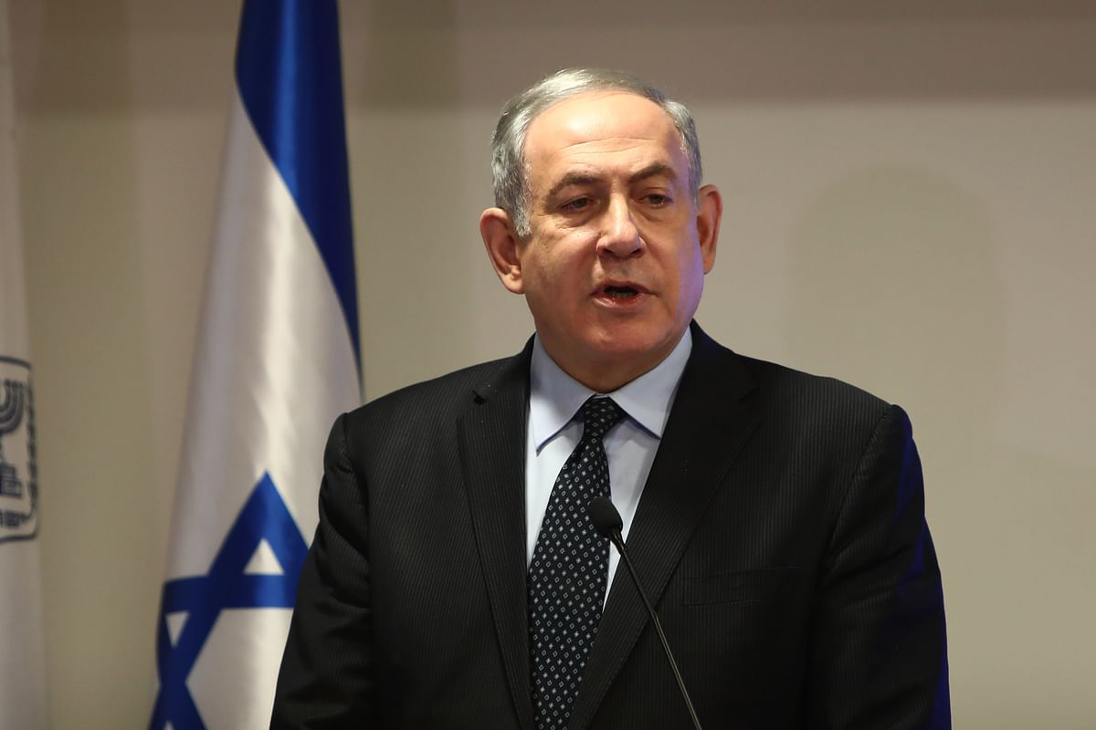 israel PM Benjamin Netanyahu speaks during a joint press conference with Israel's health minister regarding preparations and new regulations for the coronavirus, at the Health Ministry in Jerusalem