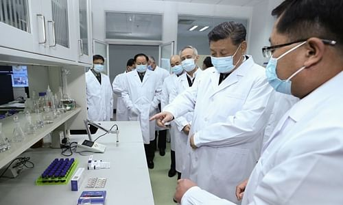 President Xi Jinping inspects COVID-19 scientific research at the Academy of Military Medical Sciences in Beijing on March 2, 2020.