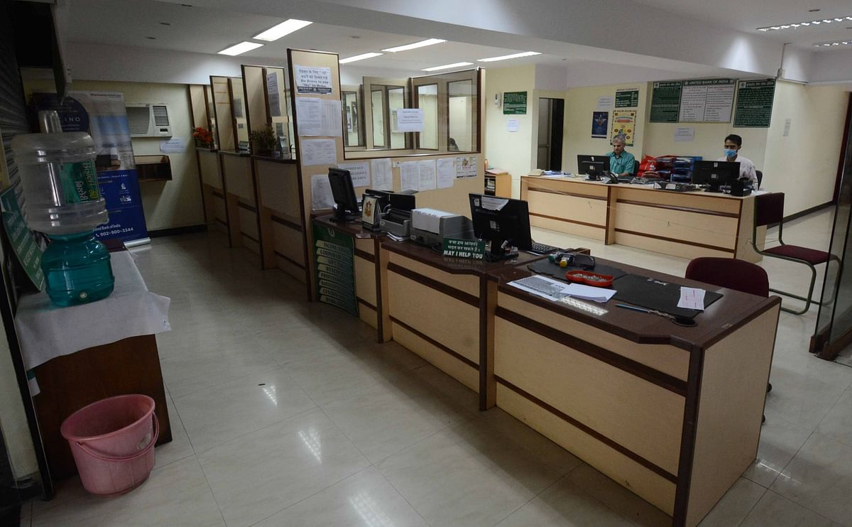 United bank of india Andheri branch during lock down in the wake of Coronavirus pandemic in Mumbai on Monday.