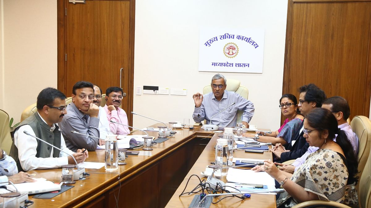 Chief Secretary SR Mohanty addresses collectors and other through video conferencing over Corona virus preparations on Tuesday.