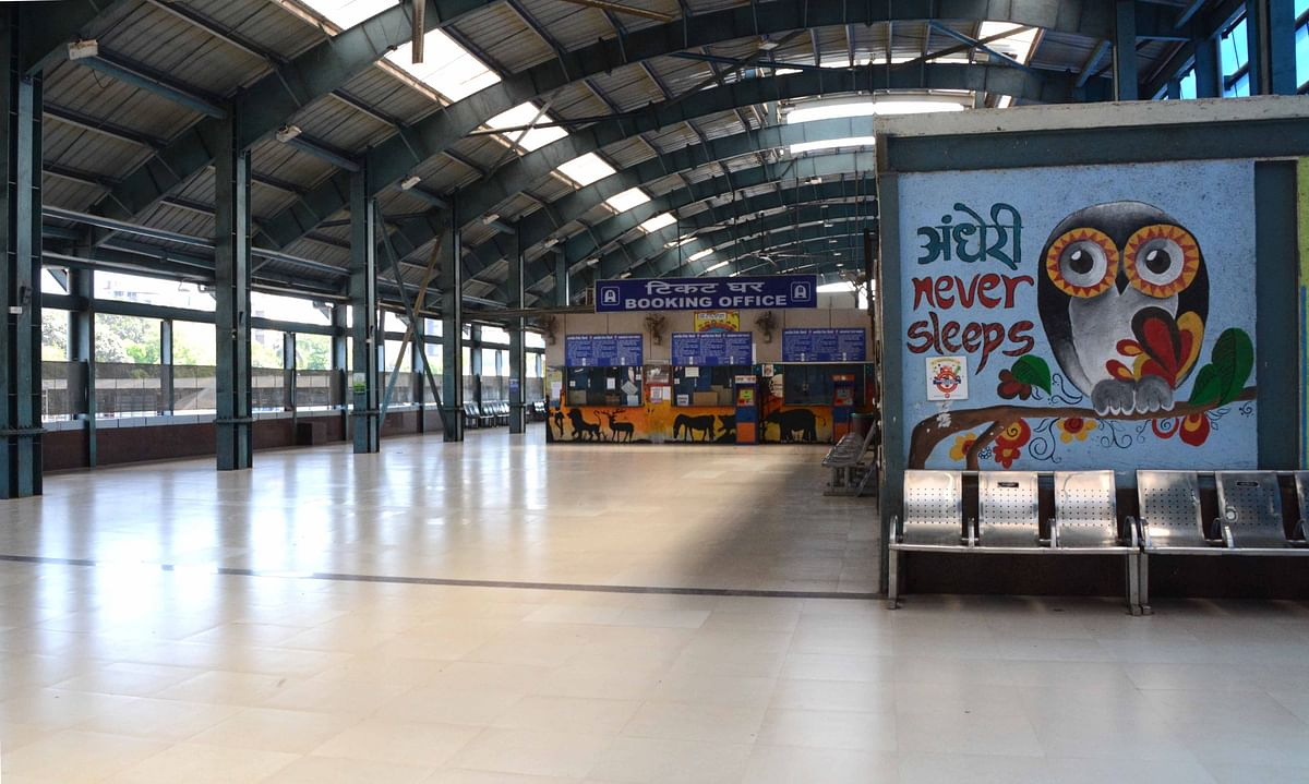 The usually crowded Andheri Railway sattion in Mumbai remains completely empty amidst a rail shutdown.