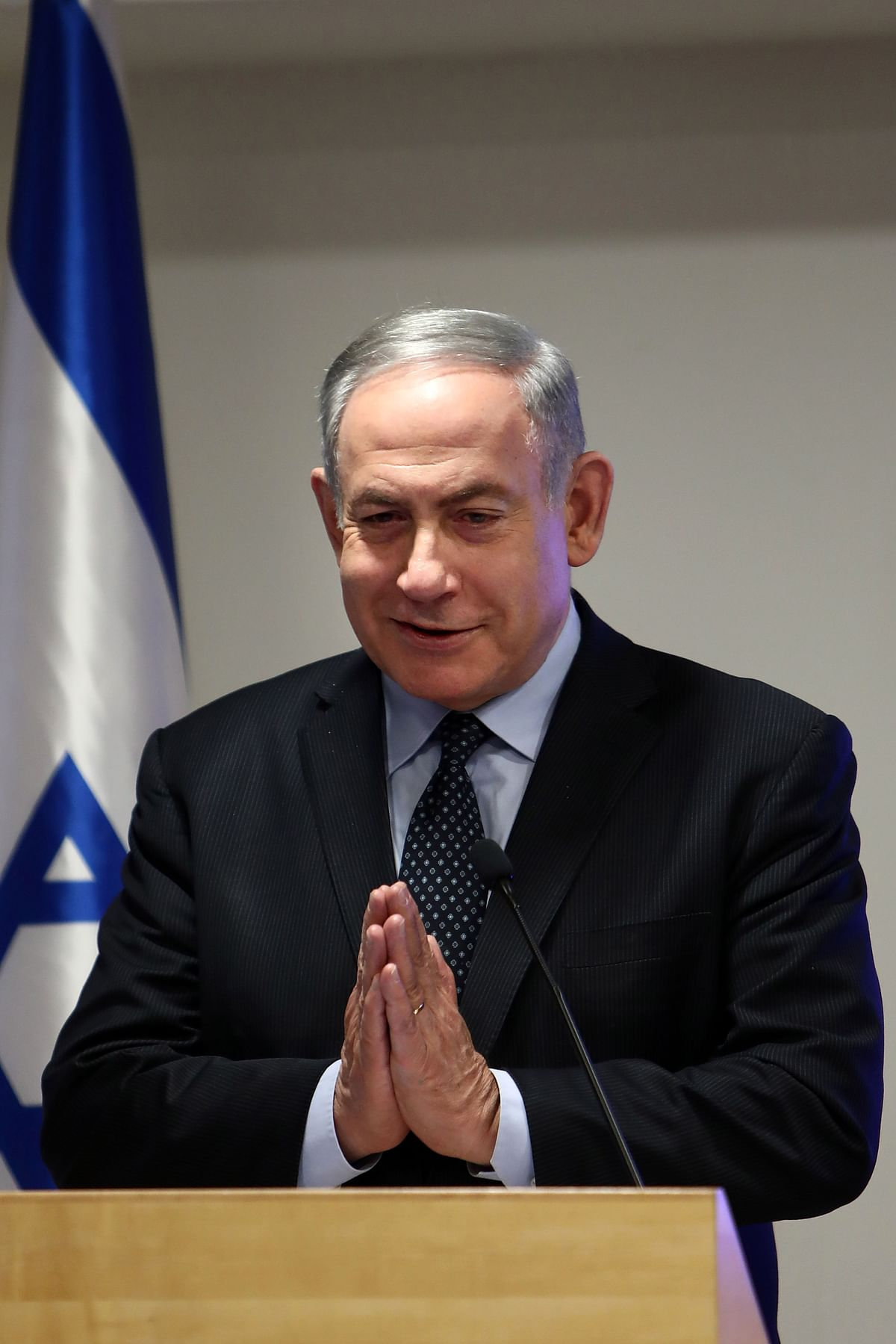 Netanyahu demonstrates how the Indians greet each other