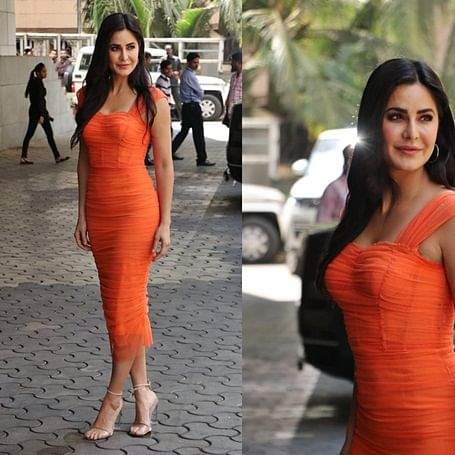 FPJ Fashion Police: Katrina Kaif flaunts svelte figure in orange skin-hugging dress at 'Sooryavanshi' trailer launch