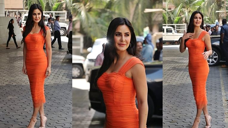 FPJ Fashion Police: Katrina Kaif flaunts svelte figure in orange skin-hugging dress at 'Sooryavanshi' trailer launch