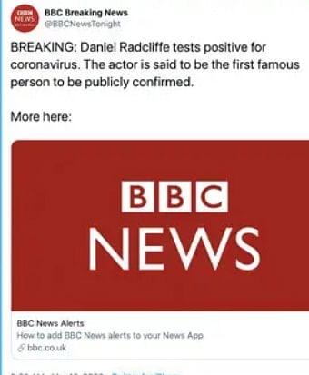 Daniel Radcliffe denies suffering from coronavirus after fake tweet goes viral