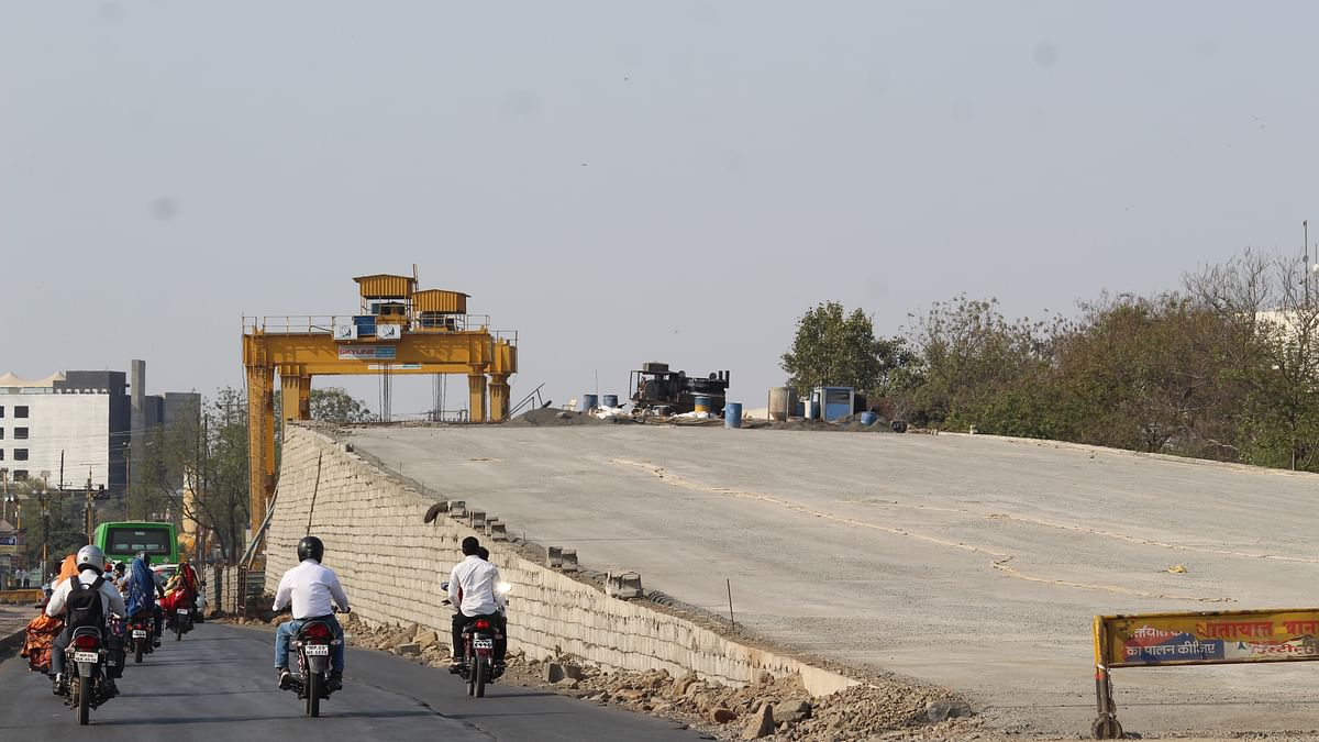 One end of the flyover from on a road from Teen Imli Square towards World Cup Square  (Representative Photo)