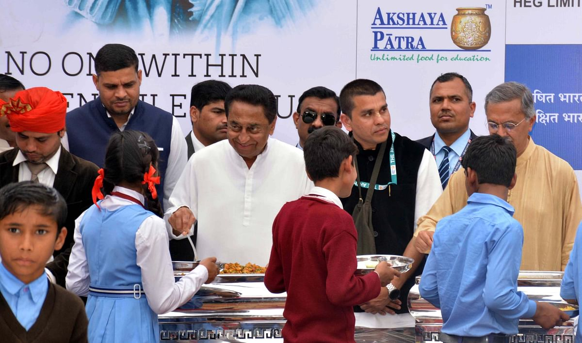 Kamal Nath performs bhoomi-pujan for Akshaya Patra's Mega Kitchen at Bawadiakalan, Shahpura, on Tuesday.