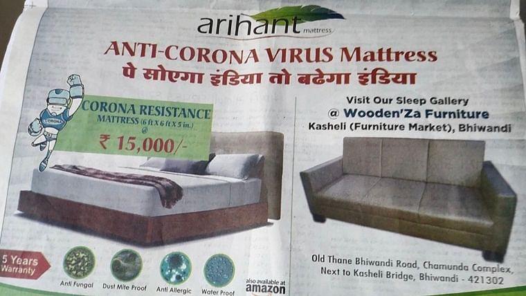 Coronavirus in India: Twitter slams bedding company for advertising 'anti-coronavirus mattress'