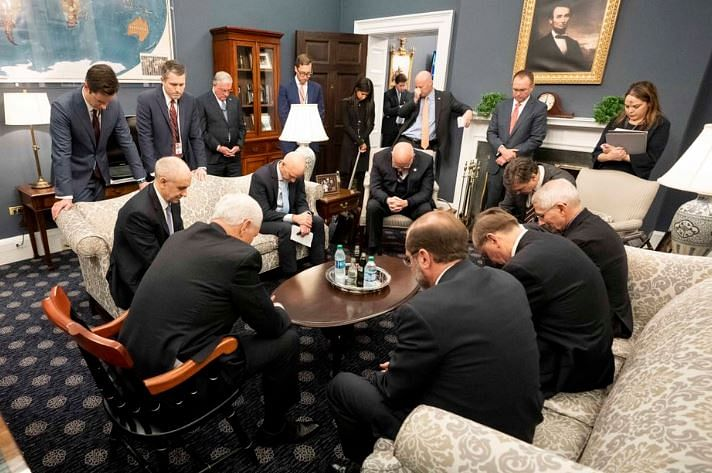 As the cornonavirus fear spread across the United States, this image of Vice President Mike Pence and his team praying for a solution did the rounds on social media