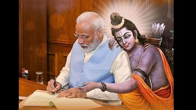 'Sycophancy in full display': Twitter divided after Rangoli Chandel posts picture of PM Modi with Lord Rama