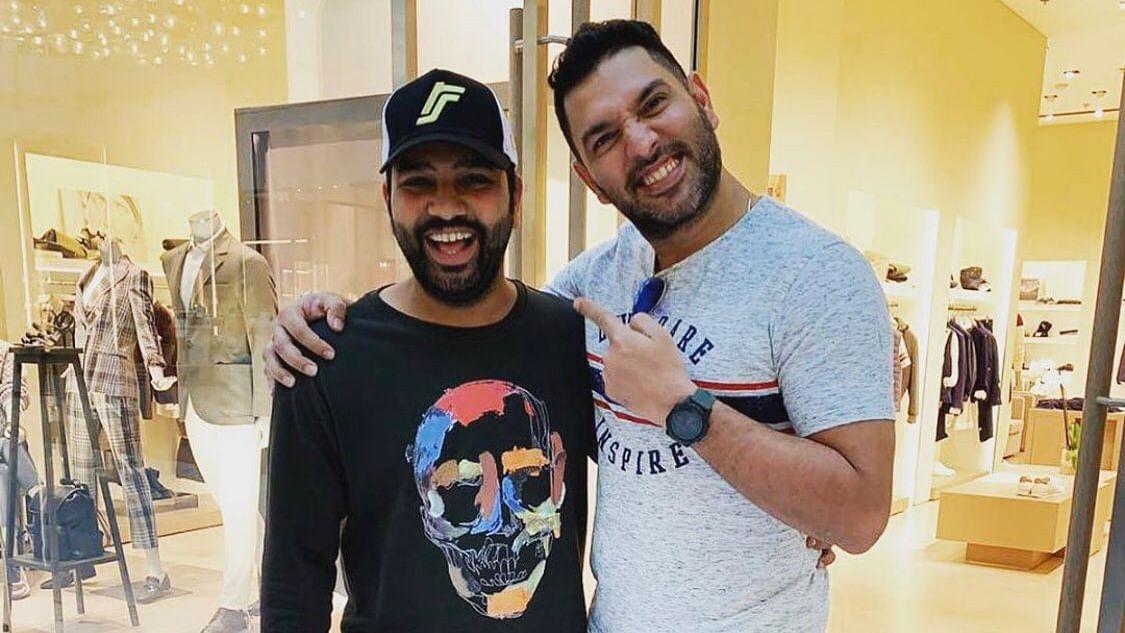 Rohit Sharma (L) with Yuvraj Singh