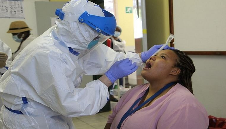 A woman is tested for COVID-19 in Windhoek, Namibia, on April 22, 2020.