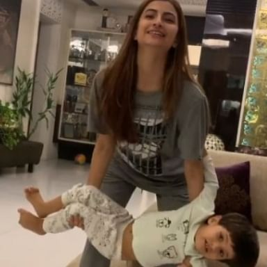 Watch: Shweta Tiwari's daughter Palak uses baby brother instead of weights for upper body workout