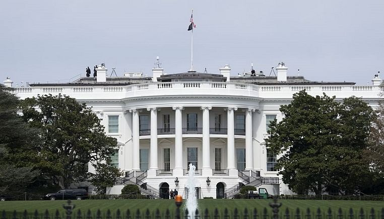 Photo taken on March 27, 2020 shows the White House in Washington D.C., the United States.