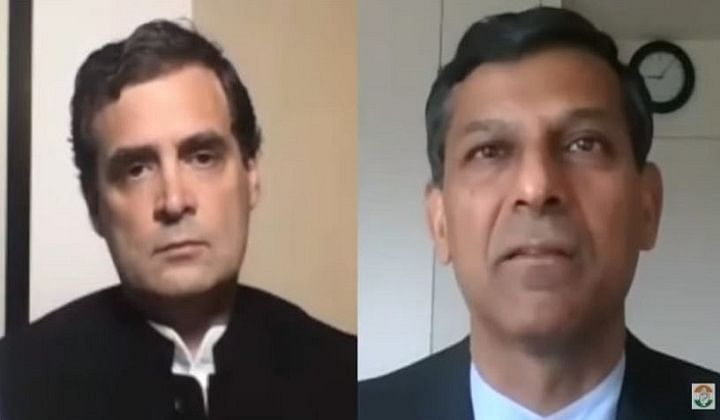 Former RBI Governor and noted economist Raghuram Rajan in conversation with Congress leader Rahul Gandhi
