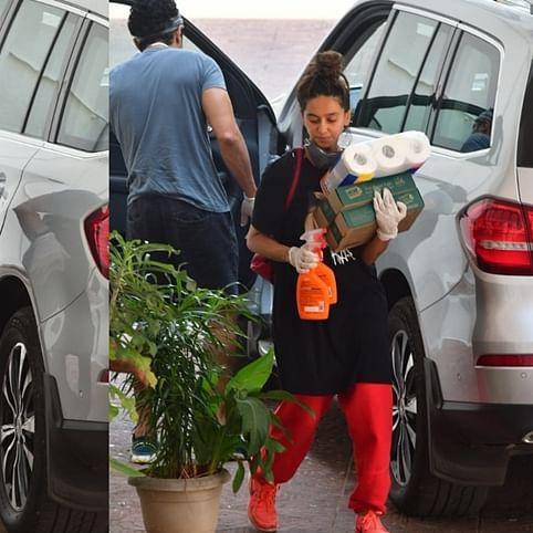 In Pics: Lovebirds Farhan Akhtar, Shibani Dandekar step out to shop for essentials amid lockdown
