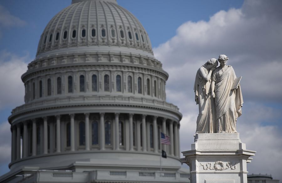 Photo taken on April 2, 2020 shows the U.S. Capitol building in Washington D.C., the United States.
