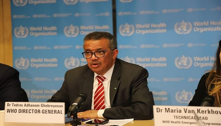 "World Health Organization (WHO) Director-General Tedros Adhanom Ghebreyesus says that the COVID-19 outbreak can be characterized as a ""pandemic"" as the virus spreads increasingly worldwide, at a press conference in Geneva, Switzerland, on March 11, 2020."