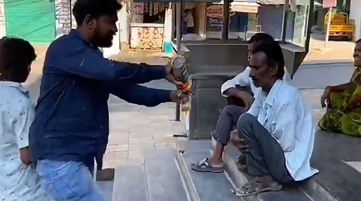 Watch: Philanthropist distributes liquor to daily wage workers in Hyderabad amid lockdown