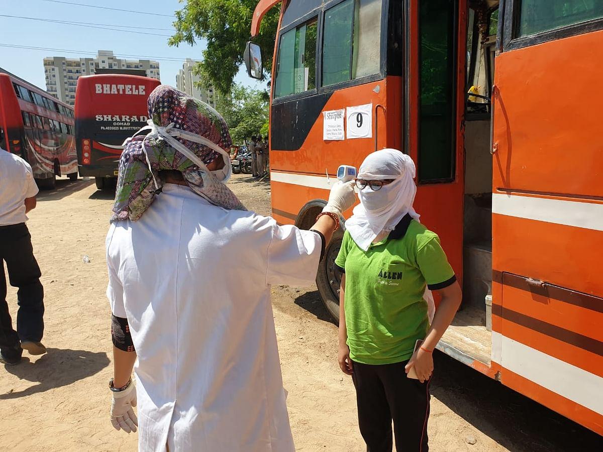 Madhya Pradesh students stuck in Rajasthan's Kota travel home amid the coronavirus lockdown