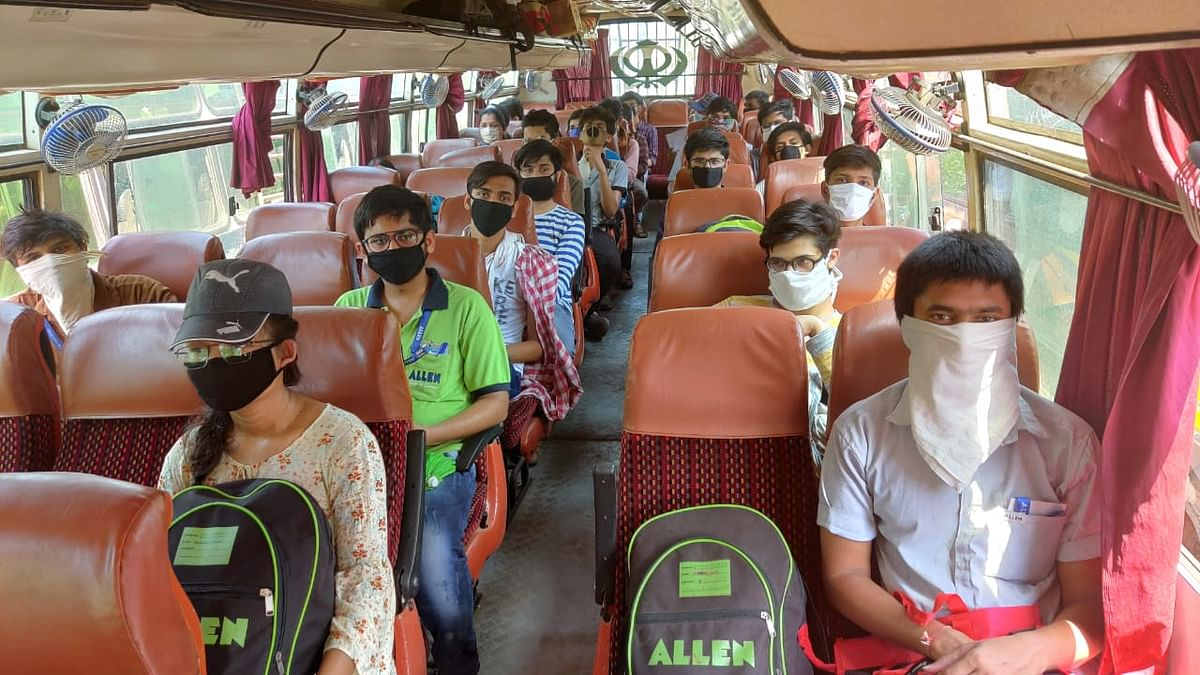 Madhya Pradesh students stuck in Rajasthan's Kota travel home amid the coronavirus lockdown
