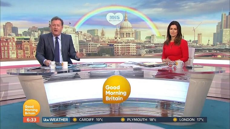 A still from Good Morning Britain tweeted on April 28 by Piers Morgan