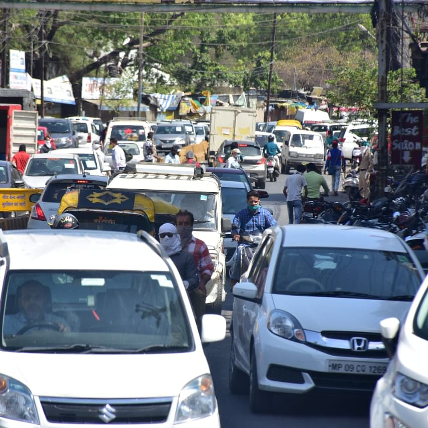 Indore roads come alive to the sound of traffic