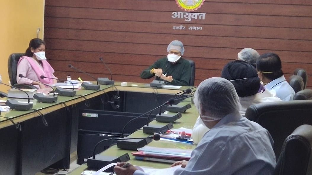 IMC administrator Akash Tripathi holds review meeting of infrastructure works on Thursday.