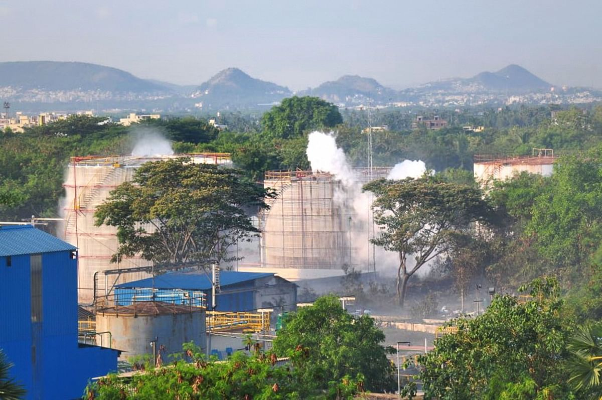 Vapour billows out from LG Polymers industry after a major chemical gas leak, in RR Venkatapuram village, Visakhapatnam