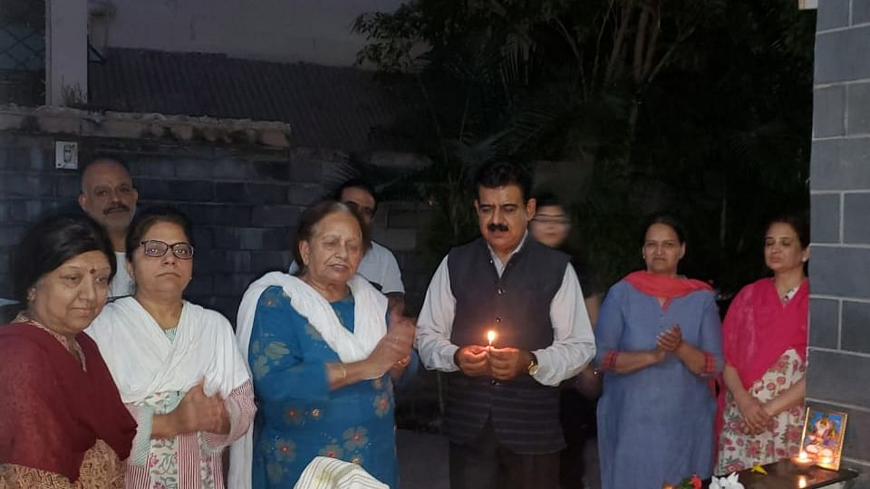 MP Lalwani celebrating Cheti Chand with his family during lockdown. Members of the Sindhi community celebrated the festival at home by lightening diyas. (file photo)